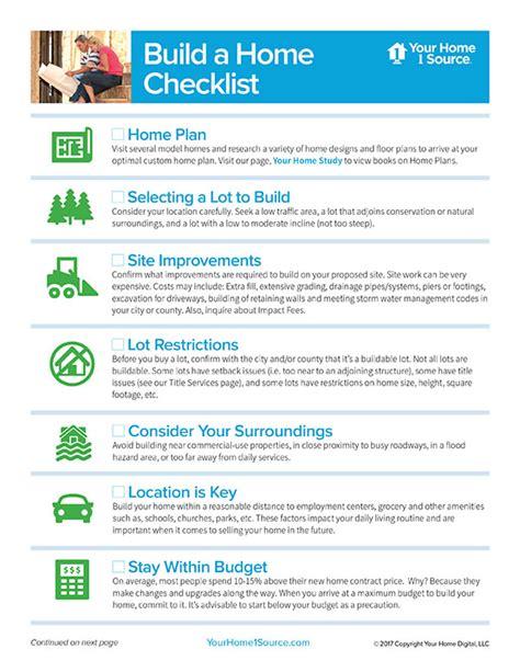 checklist for building a house build a home yourhome1source com
