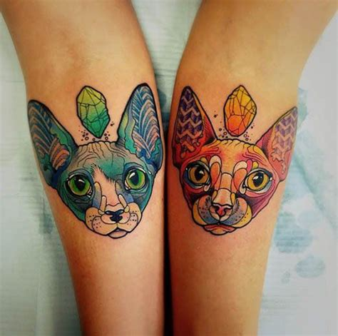 matching cat tattoos 25 best ideas about sphynx cat on