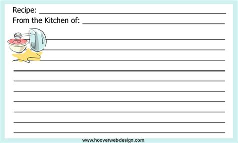 recipe card template for word 3x5 printable mixer and mixing bowl recipe cards