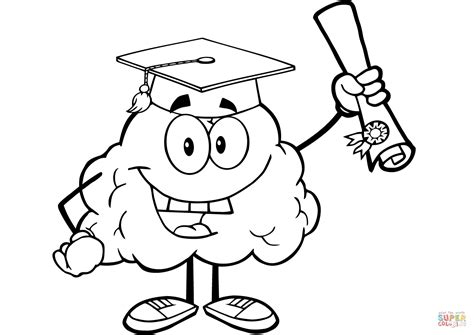 Happy Brain Character Graduate With Diploma Coloring Page Free Printable Coloring Pages Brain Coloring Pages To Print