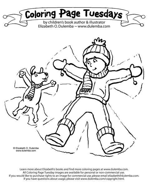 dulemba coloring page tuesday snow angels