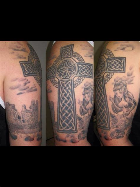 half sleeve cross tattoo my celtic half sleeve with celtic cross selkie o