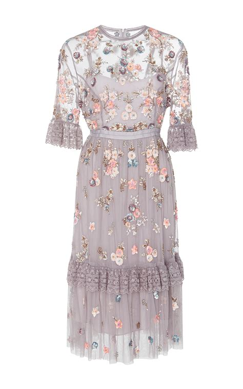 No 1 Embroidery Dress ditsy scatter embroidery ruffled dress by needle moda
