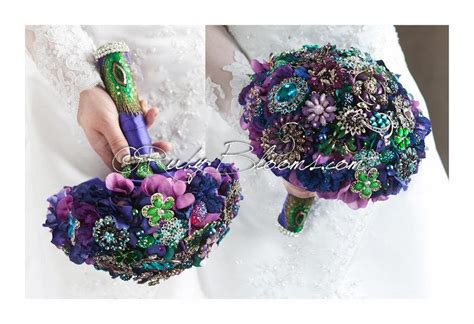 purple green blue peacock wedding broach bouquet by purple green blue peacock wedding broach bouquet jewels