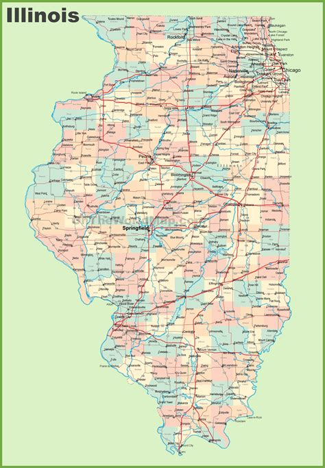 il map map of illinois with cities and towns