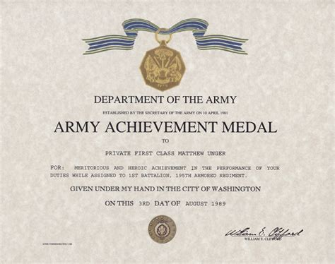 army achievement medal certificate army achievement medal replacement certificate