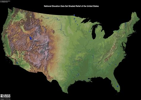 a relief map of the united states national elevation data set shaded relief of the u s from