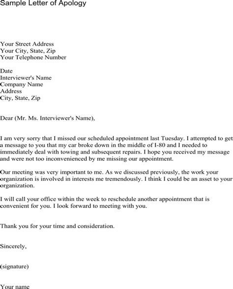 Apology Letter Sle For Plagiarism apology letter for missing appointment for free formtemplate