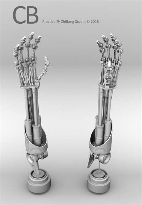 Robotic Terminator Arm T-800 Maya 3D model - Ambient