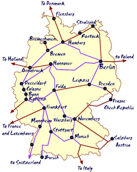 map of german routes map of german routes rail map of germany 169