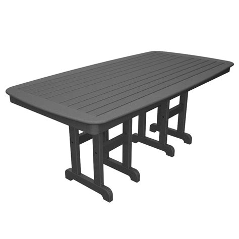 Rectangle Patio Dining Table Shop Trex Outdoor Furniture Yacht Club 71 5 In X 36 75 In Stepping Plastic Rectangle Patio