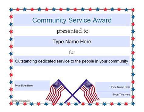 free templates for service awards community service award certificate sle image