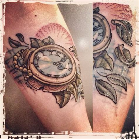traditional pocket watch tattoo traditional and neo traditional on
