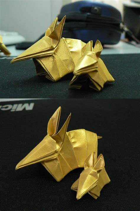 origami armadillo golden armadillo origami by ramzawolf on deviantart