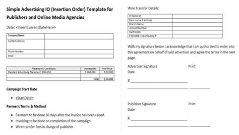 insertion order template choice image templates design ideas