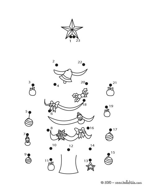 connect the dots christmas tree put the tree up coloring pages hellokids
