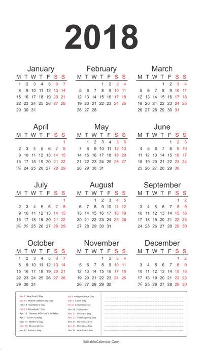 federal holidays calendar   notes   calendar printable  holidays list