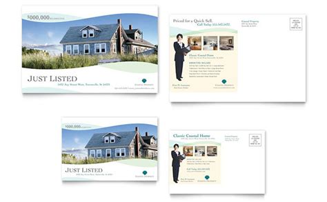 real estate postcard templates free coastal real estate postcard template design
