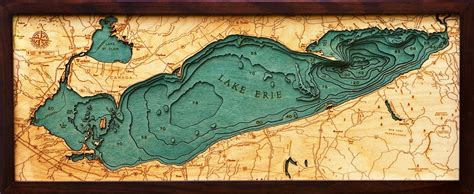 Topography Coffee Table 3d lake erie nautical wood map depth chart
