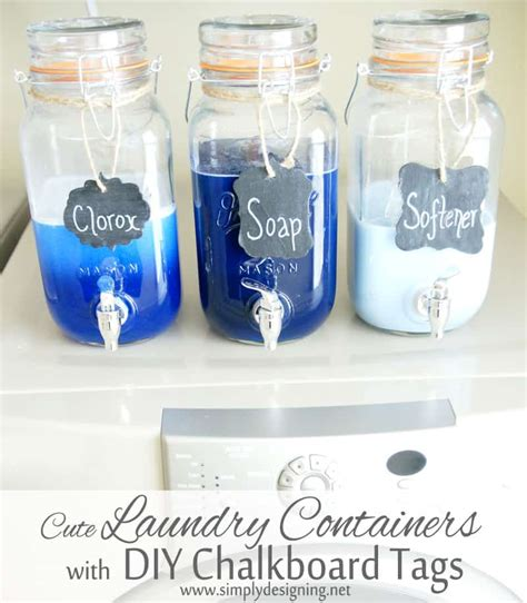 Cheap Home Decorating Ideas Diy by Mason Jar Laundry Soap Containers With Diy Chalkboard Tags