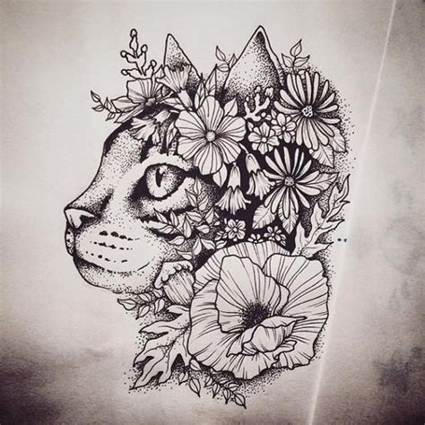 floral cat tattoo design beautiful cats design color