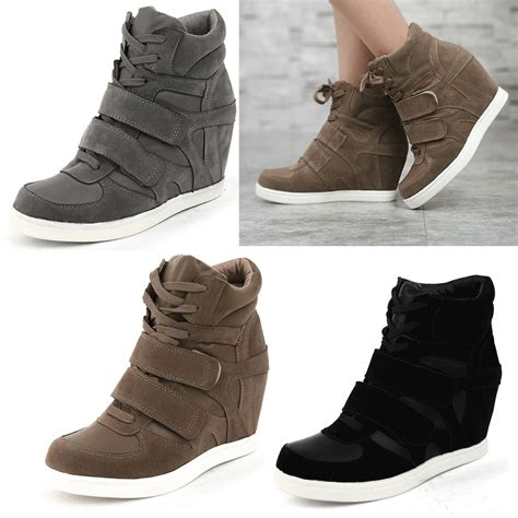 epicsnob shoes high top wedge heel suede