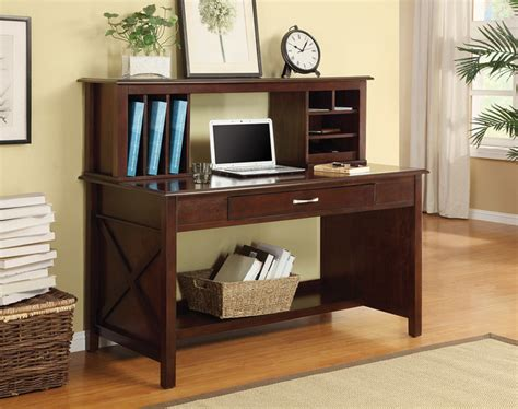 Adeline Desk With Hutch Solid Wood Mocha Finish Desk Solid Wood Computer Desk With Hutch