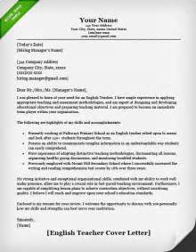 Cover Letter Of English Teacher English Teacher Cover Letter Template Resume Genius