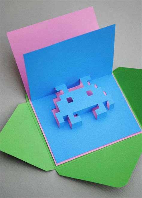 pixelated pop up card template 8 bit popup cards minieco