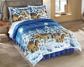 Wolf Bed Set by Wolf Wolves Bed Comforter Set Pillow Shams Bedskirt
