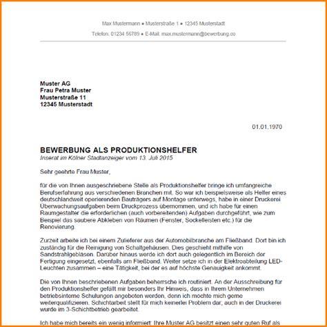 Bewerbungbchreiben Muster Produktionshelfer Ohne Ausbildung 10 Bewerbung Als Produktionshelfer Questionnaire Templated