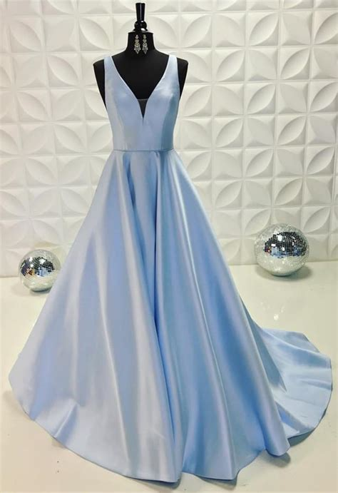 light blue satin dress long satin light blue prom dresses 2018 v neck evening