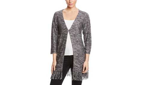 Wst 7390 Fringed Cardigan Black cupio open front cardigan with front clasp and fringed hem