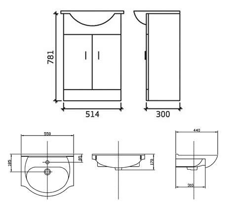 Flat Pack Bathroom Vanity Units by 550mm Bathroom Vanity Unit In White With Basin