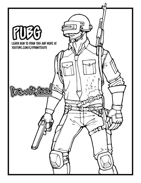 Pubg Coloring Pages by Pubg Character Drawing Pu2 Org Potwo