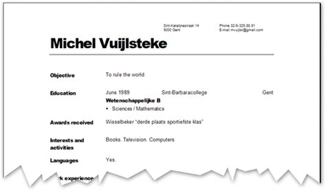 Cv Template Vdab Jobinterview 2 Cv Michel Vuijlsteke S Weblog