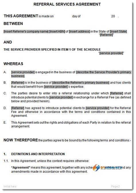 referral agreement template referral agreement