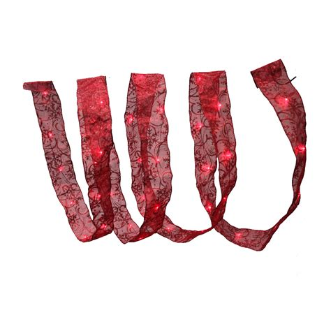 holiday illuminations led lighted red ribbon garland 12 ft