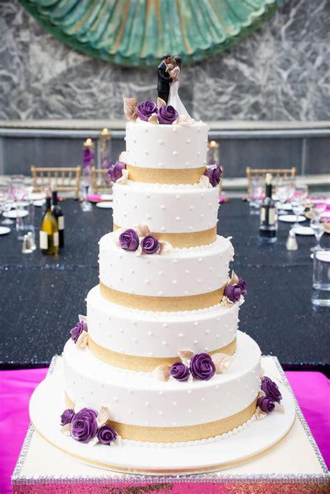 tier white gold  purple wedding cake purple