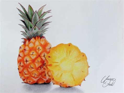 what color is a pineapple drawing fruits 4 pineapple colored pencils by f a d i