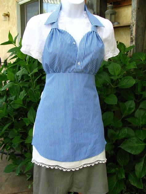 pattern for shirt apron upcycled men s dress shirt apron blue with white pin