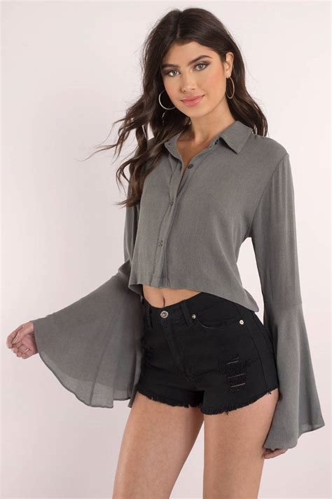 Bell Sleeve Top grey blouse collared shirt bell sleeve tops 34