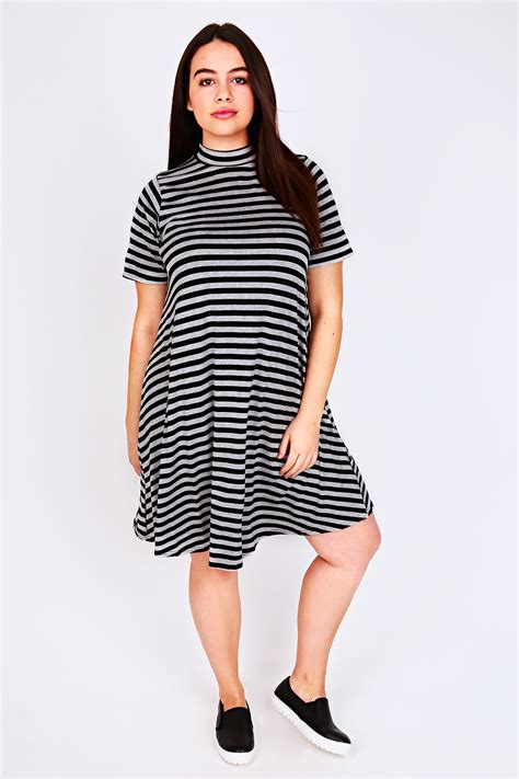 Turtle Stripe Dress black grey marl striped turtle neck swing dress plus