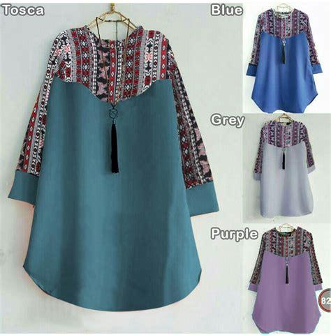 Baju Atasan Tunik Blouse Muslim Wanita Flowing Tunic 1 foto baju bluos terbaru busana wanita adia blouse model