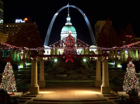 christmas lights decorate kiener plaza in downtown st