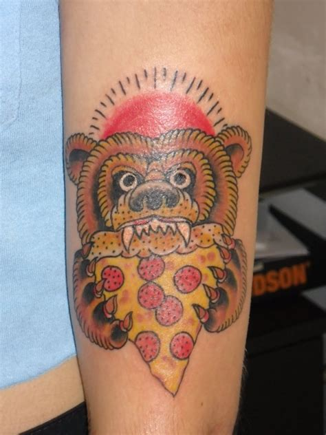pizza tattoo amazing tattoos bears and pizza on