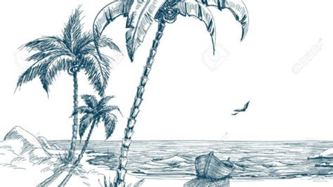 how to draw a boat on shore palm tree pencil drawing palm tree realistic art pencil