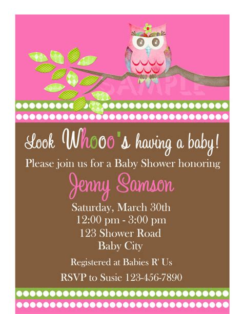 printable owl themed baby shower invitations baby shower invitations girl owl invite printable