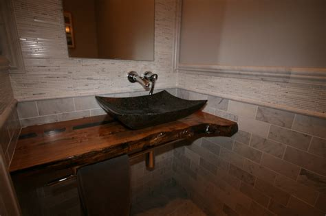Marble Powder with Live Edge Countertop   Contemporary