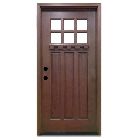 Front Door Craftsman Steves Sons 32 In X 80 In Craftsman 6 Lite Stained Mahogany Wood Prehung Front Door M3306 2